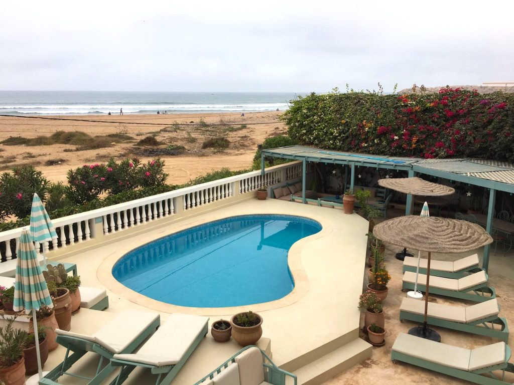 The ocean front pool on our yoga retreat in Taghazout Morocco
