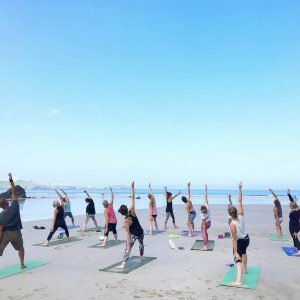 Beach Yoga Class in Newquay Cornwall