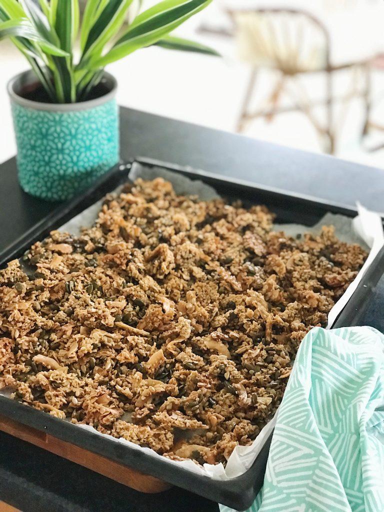 tray of crunchy coconut granola