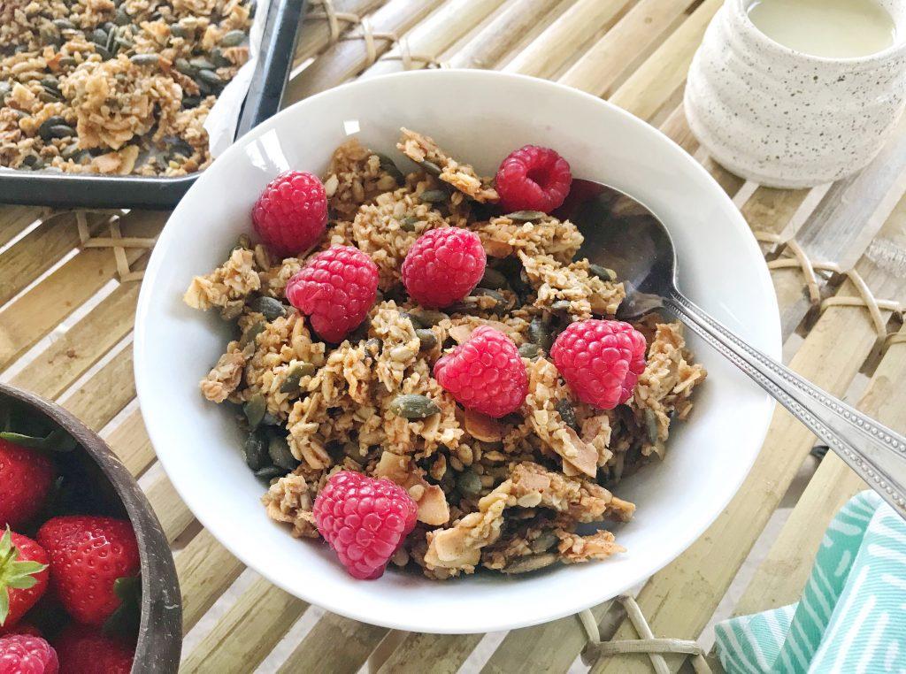 healthy granola recipe (nut free, vegan, gluten free)