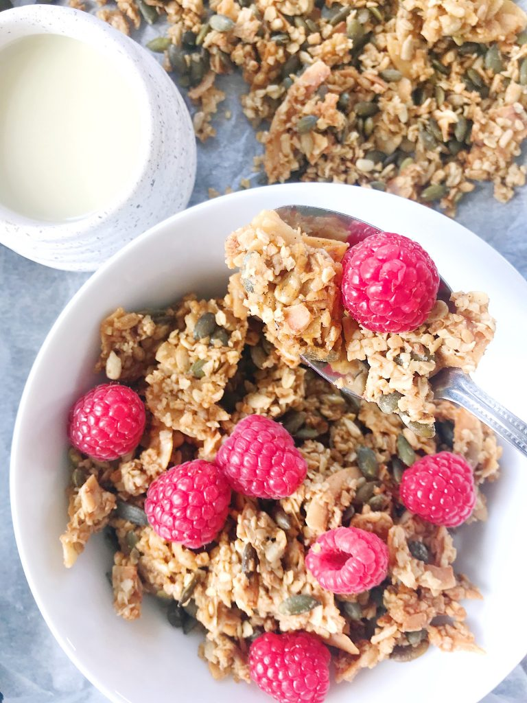 coconut granola recipe (nut free, vegan, gluten free)