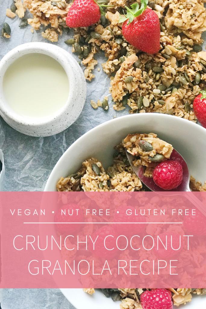 coconut granola recipe for Pinterest