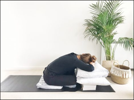 a restorative yoga sequence to do at home with no props